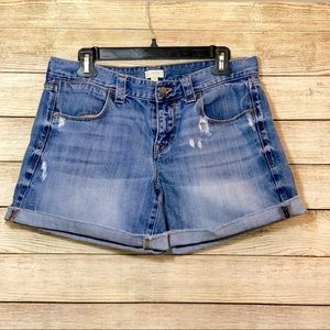 J. Crew Distressed Cuffed Denim Shorts Size 29